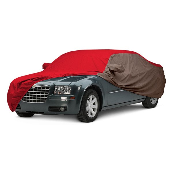 Covercraft® - WeatherShield™ HP Two-Tone Custom Car Cover with Red Center and Taupe Sides