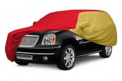 Image may not reflect your exact vehicle! Covercraft® - WeatherShield™ HP Two-Tone Custom Car Cover with Red Center and Yellow Sides