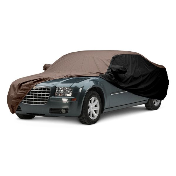 Image may not reflect your exact vehicle! Covercraft® - WeatherShield™ HP Two-Tone Custom Car Cover with Taupe Center and Black Sides