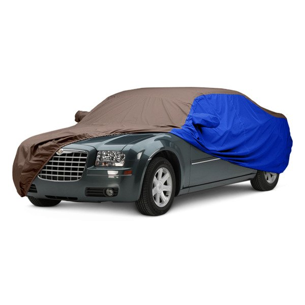 Image may not reflect your exact vehicle! Covercraft® - WeatherShield™ HP Two-Tone Custom Car Cover with Taupe Center and Bright Blue Sides