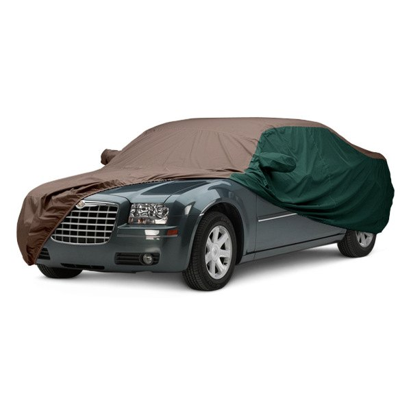 Image may not reflect your exact vehicle! Covercraft® - WeatherShield™ HP Two-Tone Custom Car Cover with Taupe Center and Green Sides