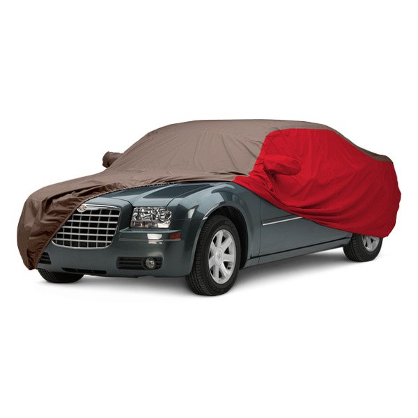 Image may not reflect your exact vehicle! Covercraft® - WeatherShield™ HP Two-Tone Custom Car Cover with Taupe Center and Red Sides