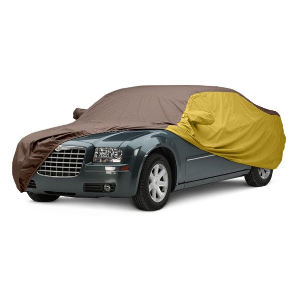 Image may not reflect your exact vehicle! Covercraft® - WeatherShield™ HP Two-Tone Custom Car Cover with Taupe Center and Yellow Sides
