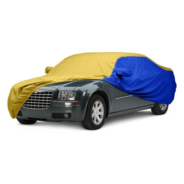 Image may not reflect your exact vehicle! Covercraft® - WeatherShield™ HP Two-Tone Custom Car Cover with Yellow Center and Bright Blue Sides