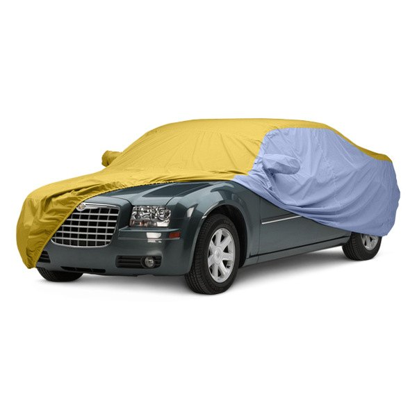 Image may not reflect your exact vehicle! Covercraft® - WeatherShield™ HP Two-Tone Custom Car Cover with Yellow Center and Light Blue Sides