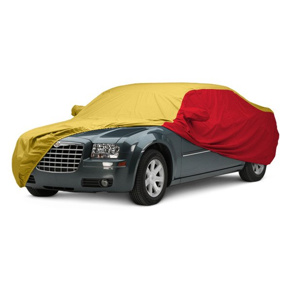 Image may not reflect your exact vehicle! Covercraft® - WeatherShield™ HP Two-Tone Custom Car Cover with Yellow Center and Red Sides