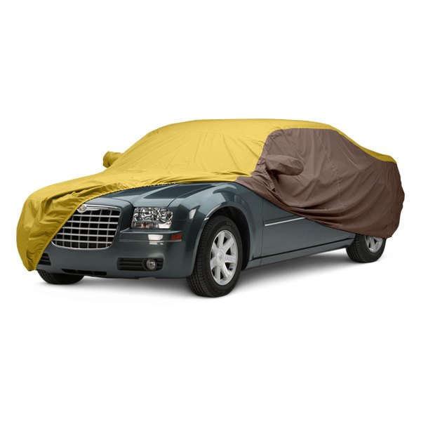Image may not reflect your exact vehicle! Covercraft® - WeatherShield™ HP Two-Tone Custom Car Cover with Yellow Center and Taupe Sides