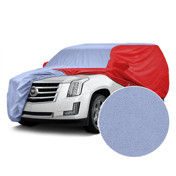 Covercraft® - WeatherShield™ HP Two-Tone Custom Car Cover with Light Blue Center and Red Sides