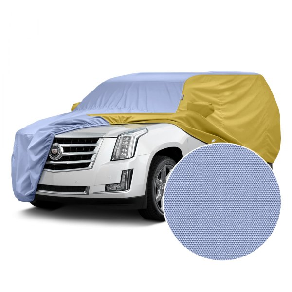 Covercraft® - WeatherShield™ HP Two-Tone Custom Car Cover with Light Blue Center and Yellow Sides
