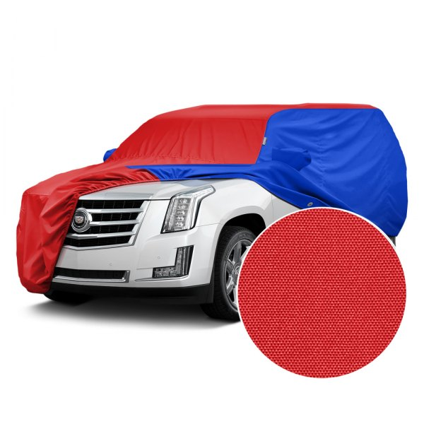 Covercraft® - WeatherShield™ HP Two-Tone Custom Car Cover with Red Center and Bright Blue Sides