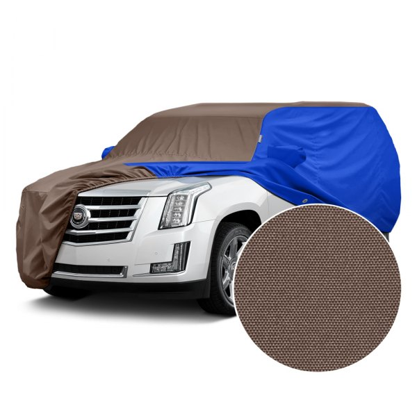 Covercraft® - WeatherShield™ HP Two-Tone Custom Car Cover with Taupe Center and Bright Blue Sides