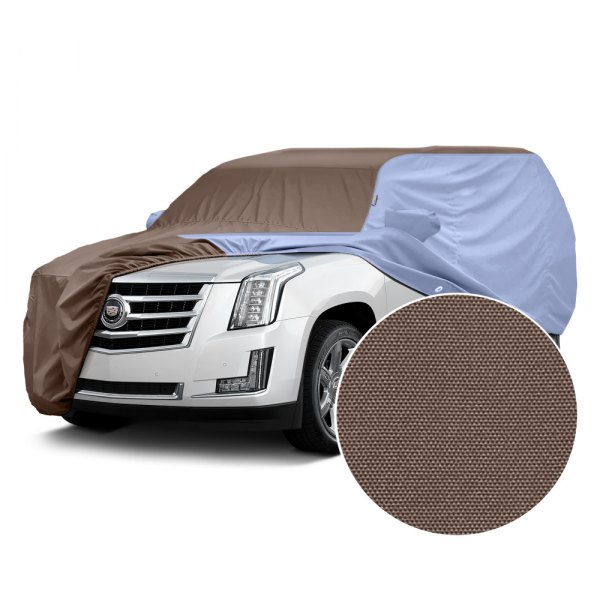Covercraft® - WeatherShield™ HP Two-Tone Custom Car Cover with Taupe Center and Light Blue Sides