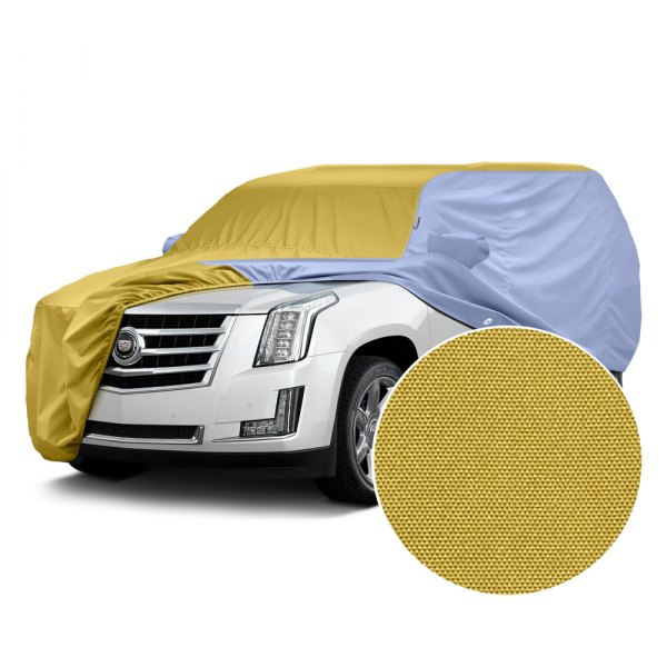 Covercraft® - WeatherShield™ HP Two-Tone Custom Car Cover with Yellow Center and Light Blue Sides