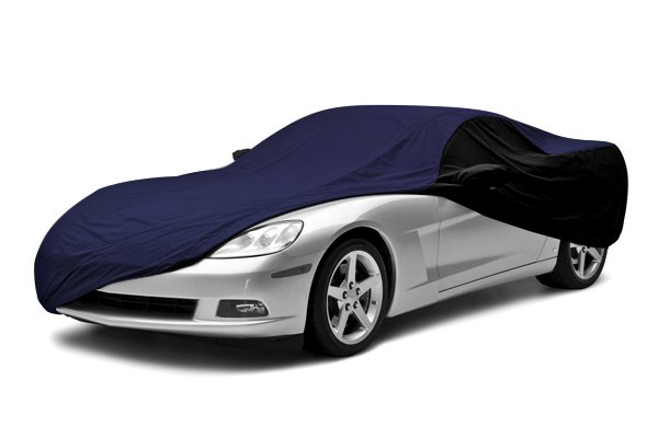 Image may not reflect your exact vehicle! Coverking® - Satin Stretch™ Custom Blue Car Cover with Black Sides