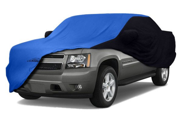 Image may not reflect your exact vehicle! Coverking® - Satin Stretch™ Custom Grabber Blue Car Cover with Black Sides