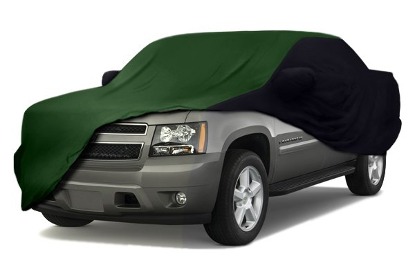 Image may not reflect your exact vehicle! Coverking® - Satin Stretch™ Custom Green Car Cover with Black Sides