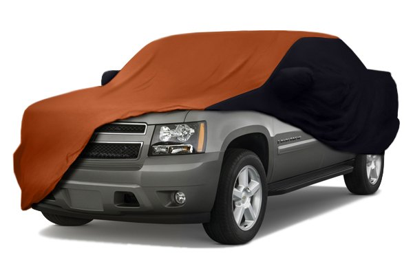 Image may not reflect your exact vehicle! Coverking® - Satin Stretch™ Custom Inferno Orange Car Cover with Black Sides