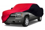 Image may not reflect your exact vehicle! Coverking® - Satin Stretch™ Custom Red Car Cover with Black Sides