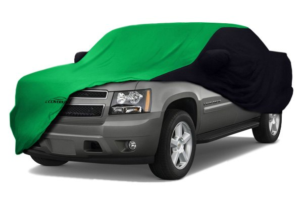 Image may not reflect your exact vehicle! Coverking® - Satin Stretch™ Custom Synergy Green Car Cover with Black Sides