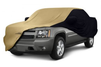 Image may not reflect your exact vehicle! Coverking® - Satin Stretch™ Custom Tan Car Cover with Black Sides