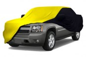 Image may not reflect your exact vehicle! Coverking® - Satin Stretch™ Custom Yellow Car Cover with Black Sides