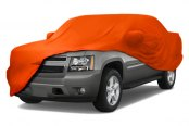 Image may not reflect your exact vehicle! Coverking® - Satin Stretch™ Custom Rust Orange Car Cover