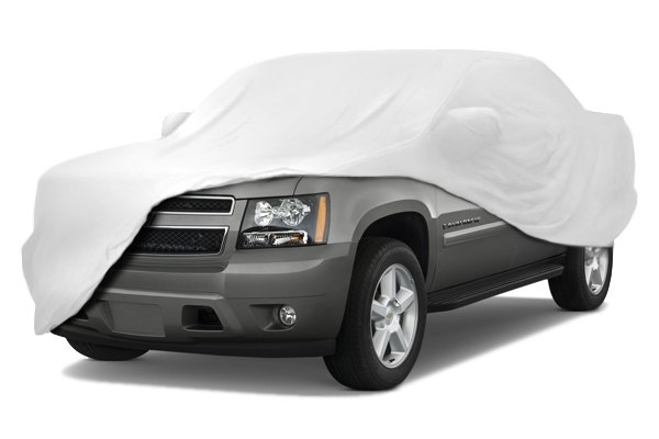 Image may not reflect your exact vehicle! Coverking® - Satin Stretch™ Custom White Car Cover