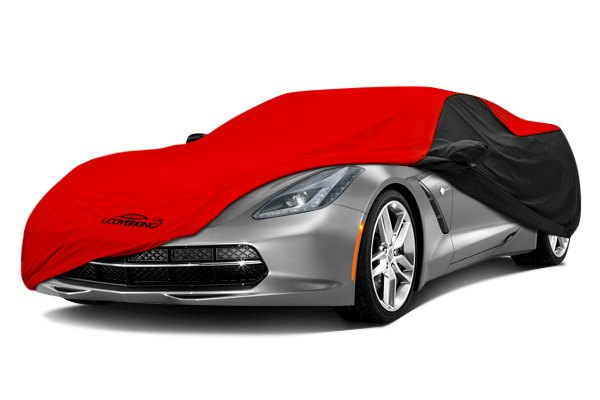 Image may not reflect your exact vehicle! Coverking® - Stormproof™ Custom Red Car Cover with Black Sides