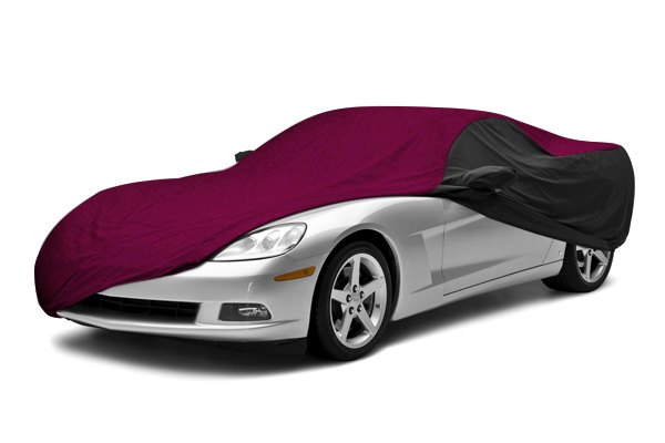 Image may not reflect your exact vehicle! Coverking® - Stormproof™ Custom Wine Car Cover with Black Sides