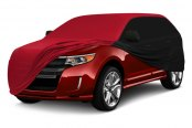 Image may not reflect your exact vehicle! Coverking® - Satin Stretch™ Black & Red Custom Car Cover