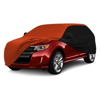 Coverking® - Satin Stretch™ Indoor Custom Inferno Orange Car Cover with Black Sides