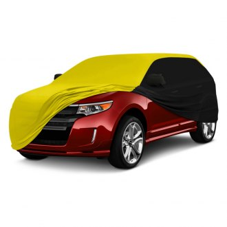 Coverking® - Satin Stretch™ Indoor Custom Yellow Car Cover with Black Sides