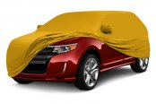Image may not reflect your exact vehicle! Coverking® - Satin Stretch™ Grabber Orange Custom Car Cover Yellow