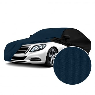 Coverking® - Satin Stretch™ Indoor Navy Blue Custom Car Cover with Black Sides