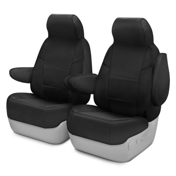 Coverking® - Premium Leatherette 1st Row Black Custom Seat Covers
