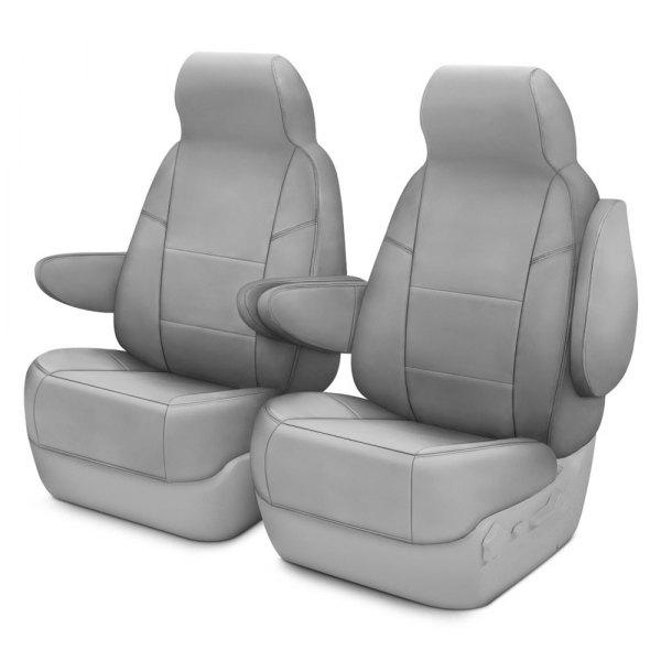 Coverking® - Premium Leatherette 1st Row Light Gray Custom Seat Covers