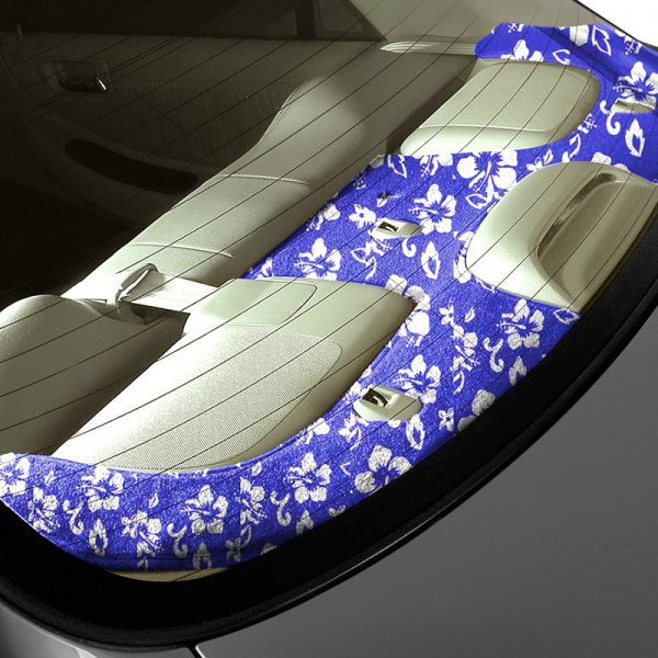 Image may not reflect your exact vehicle! Coverking® - Designer Velour Hawaiian Blue Custom Rear Deck Cover