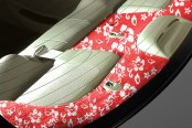 Image may not reflect your exact vehicle! Coverking® - Designer Velour Hawaiian Red Custom Rear Deck Cover