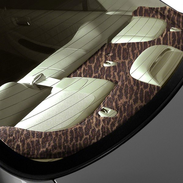 Image may not reflect your exact vehicle! Coverking® - Designer Velour Leopard Custom Rear Deck Cover