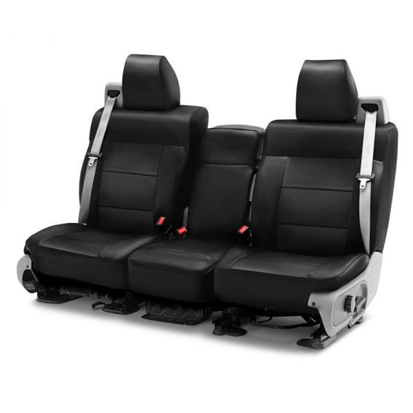 Image may not reflect your exact vehicle! Coverking® - Genuine Leather 1st Row Black Custom Seat Cover
