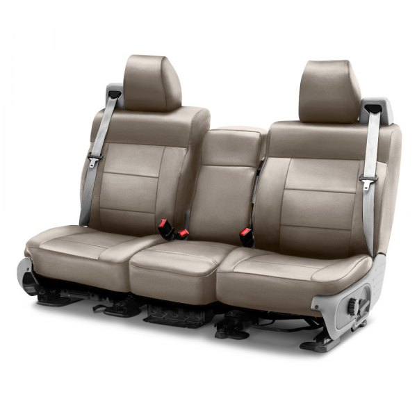 Image may not reflect your exact vehicle! Coverking® - Genuine Leather 1st Row Beige Custom Seat Cover