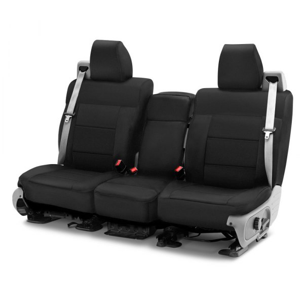 Image may not reflect your exact vehicle! Coverking® - Polycotton Drill 1st Row Black Custom Seat Cover