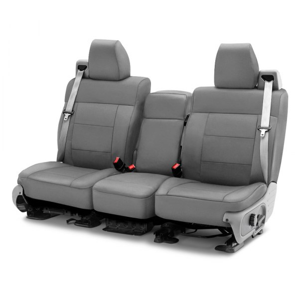Image may not reflect your exact vehicle! Coverking® - Polycotton Drill 1st Row Medium Gray Custom Seat Cover