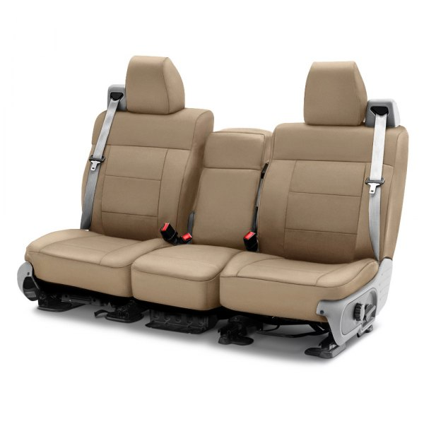 Image may not reflect your exact vehicle! Coverking® - Polycotton Drill 1st Row Cashmere Custom Seat Cover