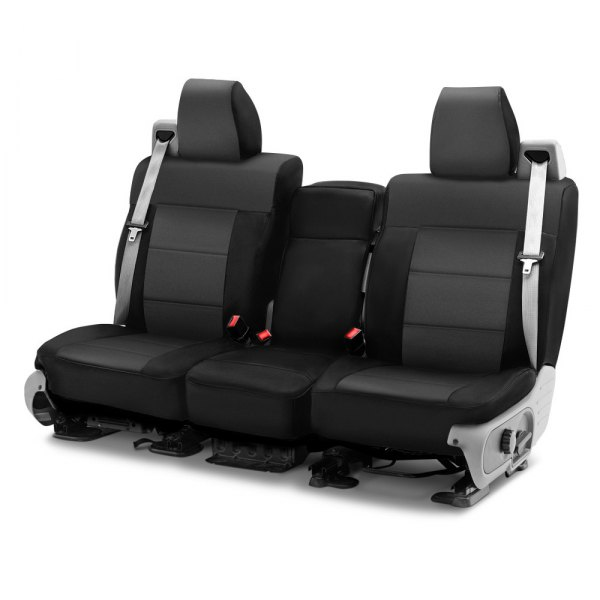 Image may not reflect your exact vehicle! Coverking® - Neosupreme 1st Row Black & Gray Custom Seat Cover