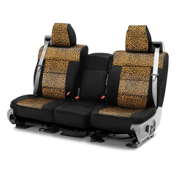 Coverking® - Neosupreme 1st Row Black & Cheetah Custom Seat Cover