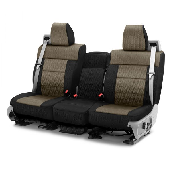Coverking® - Spacer Mesh 1st Row Black & Taupe Custom Seat Cover