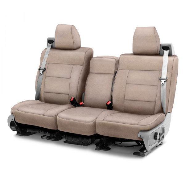 Image may not reflect your exact vehicle! Coverking® - Suede 1st Row Beige Custom Seat Cover