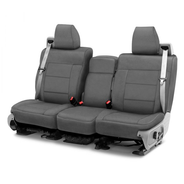 Image may not reflect your exact vehicle! Coverking® - Suede 1st Row Charcoal Custom Seat Cover