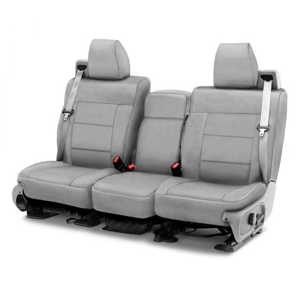 Image may not reflect your exact vehicle! Coverking® - Suede 1st Row Gray Custom Seat Cover